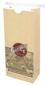1 LB Tabbed Paper Coffee Bags - Printed GILLIES 1/250